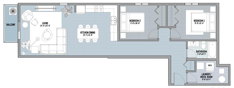 425 Main - the Bluebell - floor plan